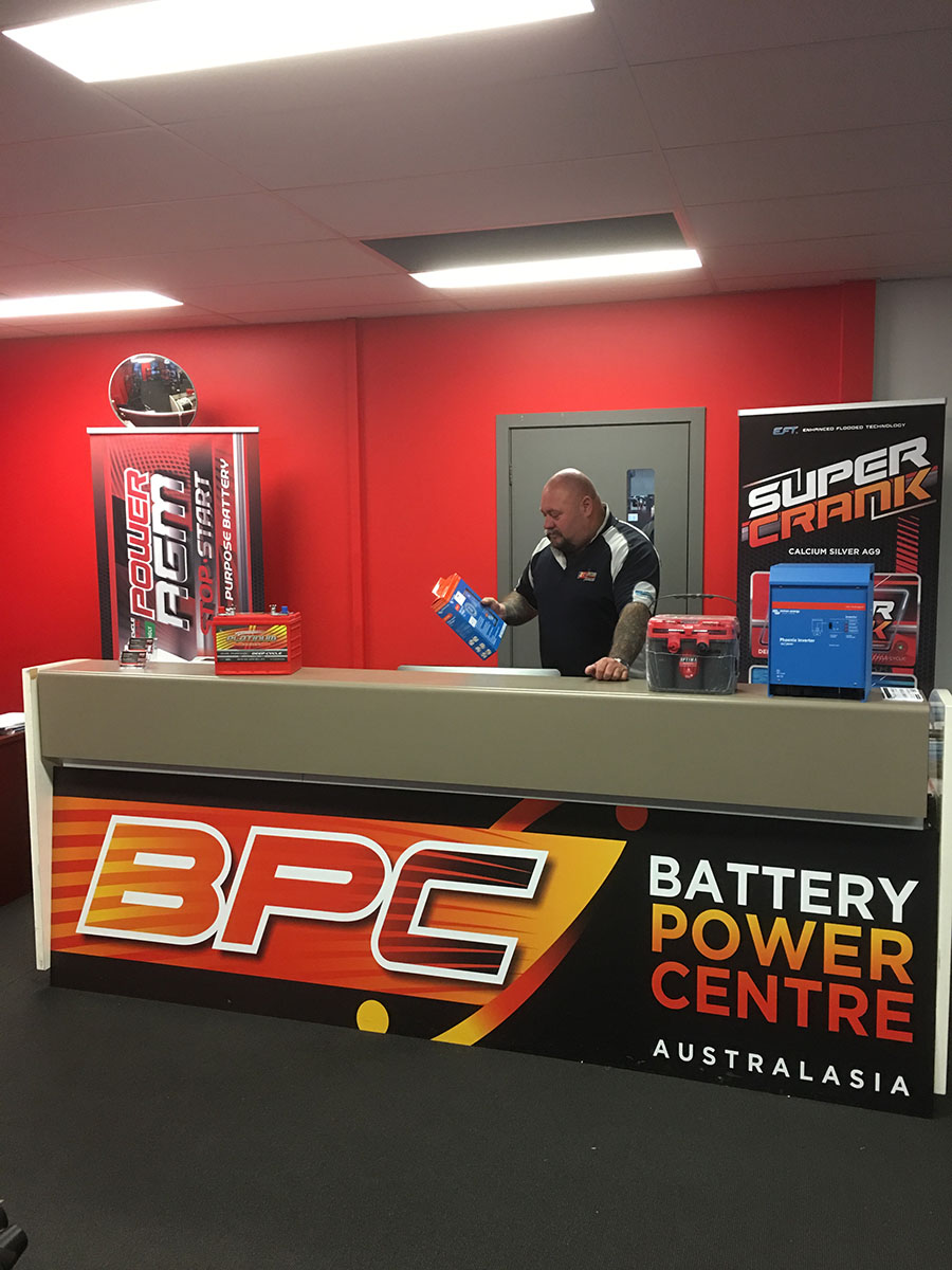 Staff at the front counter inside Battery Power Centre Dandenong