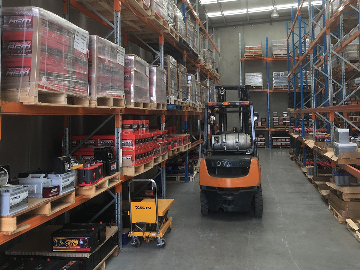 Interior of Battery Power Centre warehouse in Dandenong